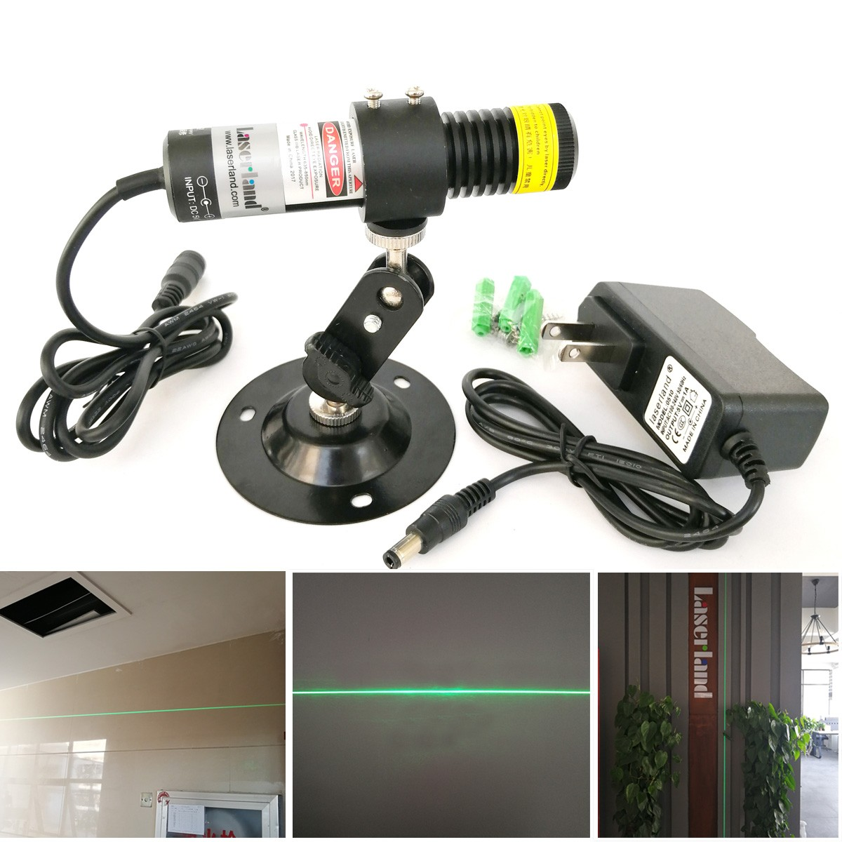 22*100 Water Proof 510nm 10mw 520nm 80mw 135mW Green Line Laser Diode Module for Stone Cutting Wood Cutting IP65 outdoor use