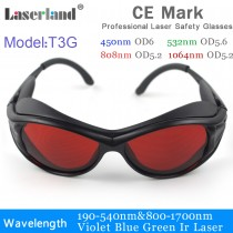 T3G 190-540nm 800-1100nm OD5+ Green+IR Laser Protective Goggles Safety Glasses CE